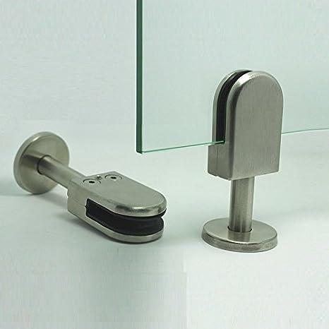 Bodenhalter Pfosten f/ür rahmenlose Glasscheiben LuKLoy-304-Edelstahl-U-Klemmtr/äger-Halterung