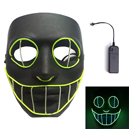 Funny Rave Halloween Costumes (MineSign Halloween Scary Mask Glow LED Light Up Flash Mask Creepy Cosplay Costumes)