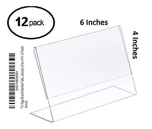 T'z Tagz FNSKU: X001NENE8X Slanted Tabletop Clear Acrylic Picture Frame Sign Holders (Acrylic, 6 Inhes Wide x 4 Inches High 12 Pack)