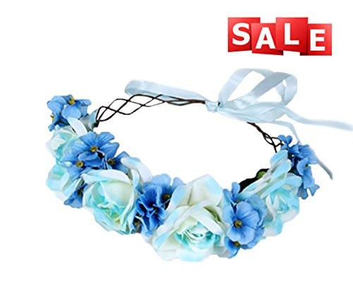 Vivivalue Handmade Boho Rose Flower Headband Hair Wreath Halo Floral Garland Crown Headpiece with Ribbon Festival Wedding Party Bride Women Hair Accessories Blue