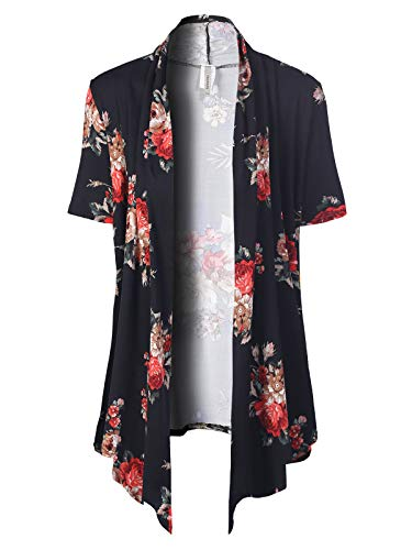 MixMatchy Women's [Made in USA] Solid Jersey Knit Short Sleeve Open Front Draped Cardigan (S-3XL) Black/Red Flower Print S
