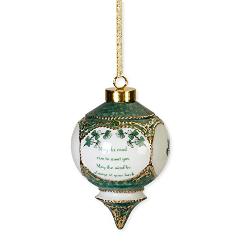 Irish Blessing May The Road Rise To Meet You Shamrock Jewel Victorian 4.5 in. Ball Christmas Ornament