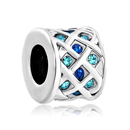 CharmsStory Aquamarine Crystals Knitting Bracelets