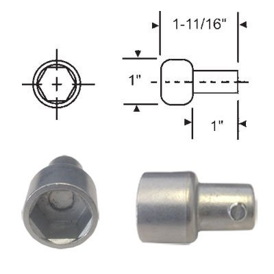 Replacement Hex Ball Adaptor for Skylight and Awning Window Operators, Mill