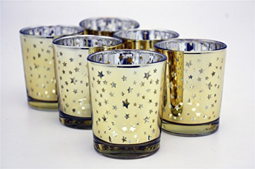 Candle Votive Holder Christmas (V-More Laser Cut Mercury Glass Votive Candle Holder Tealight Holder 2.55-inch Tall Set of 6 For Home Decor Wedding Party Celebration (Gold Star))