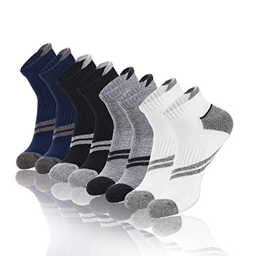 (Men's Cotton Crew Running Socks Low Cut Ankle Socks,Comfort Athletic Cushioned Sports Socks,4-Pack(For King Shoes Size 6-12))