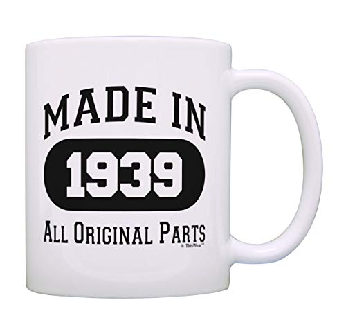 80th Birthday Gifts for Men Made 1939 All Original Parts Funny 80th Birthday Party Supplies Gift Coffee Mug Tea Cup White ()