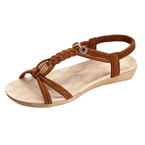 Winwintom mujeres plana de Zapatos sandalias peep toe mujer venda Bohemia ocio zapatos al aire libre Marrón