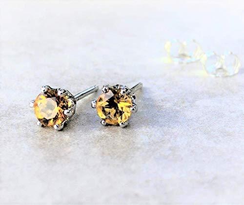 (Golden Citrine Gemstone Stud Earrings Sterling Silver November Birthstone Jewelry Gift For Her)