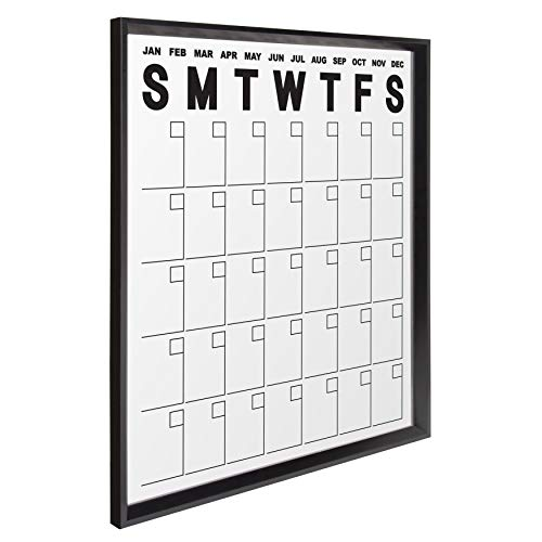 (Kate and Laurel Calter Wall Calendar, Large Framed Erasable Month-at-a-Glance Planner with Clear Acrylic Surface, Black 25.5 x 31.5 Inches)