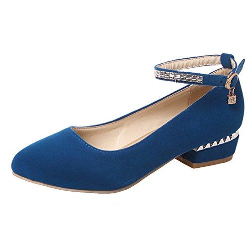 AIYOUMEI Damen Knöchelriemchen Chunky Heel Pumps mit 3cm und Strass Absatz Abend Bequem Schuhe Blau