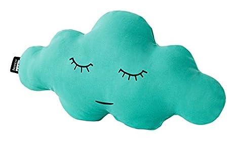 Paparajote Factory Cloud S Jade - Cojín de algodón con Forma de Nube, 50 x 25 cm, Color Verde