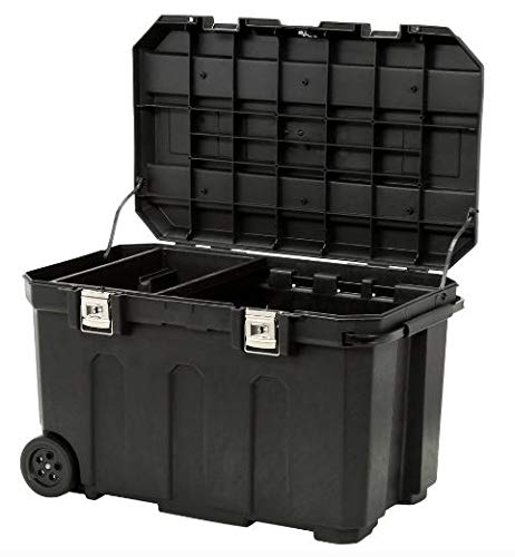 Portable Rolling Tool Box – 50 Gallon Lockable Tool Storage Chest – Solid Construction Bin With Pull-Out Steel Handle – Heavy-Duty Rubber Wheels – Great Container To Transport Tools, Equipments