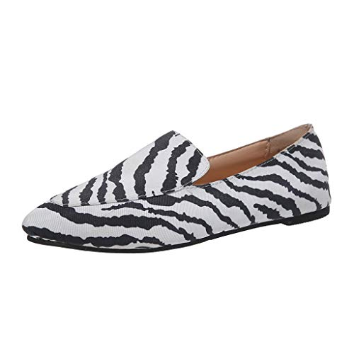 Tantisy ♣↭♣ Womens Classic Pointy Toe Ballet Flats Slip On Leopard Dress Flat Shoes White ()