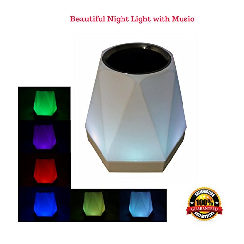(Wireless Bluetooth Speaker Multicolor Dimmable Atmosphere Night Light for All Smart Phones, Hands-Free Smart Touch 7 Colors LED Mood Lamp and Music Player, AUX Portable with FM Radio, Support TF Card)