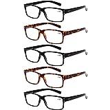 Reading Glasses 5 Pairs Quality Readers Spring Hinge Glasses for Reading for Men and Women (3 Black 2 Tortoise, 3.00) Larger Image