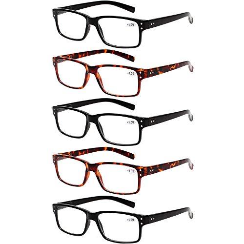 Reading Glasses 5 Pairs Quality Readers Spring Hinge Glasses for Reading for Men and Women (3 Black 2 Tortoise, 4.00)