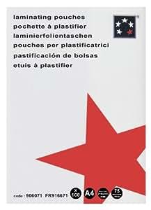 5 Star 916671 - Fundas para plastificadora (75 micras, tamaño A4, poliéster, 100 unidades), transparente