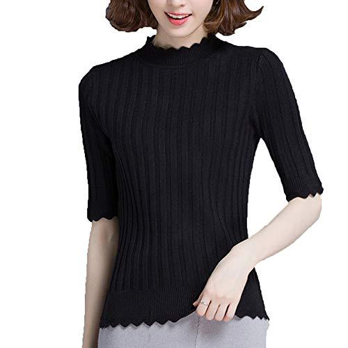 Jersey Suéteres Black Top Cuello Casuales Mujer Media De Alto Manga Jerseys w4q64g7R