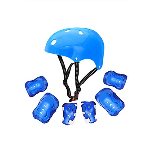Kids Skateboarding Protective Gear Set, Roller Skating Helmet Wrist Elbow Knee Pads for Scooter Rollerblading Cycling Other Extreme Sports(495 Blue,One Size)