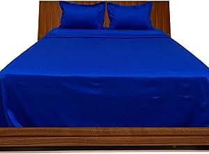 Brightlinen Royal Blue Superking (180 X 200 Cm) Sheet Set Solid(pocket Size: 34 Cm) 4pcs