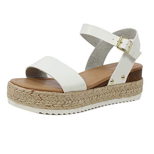 SODA Women's Open Toe Ankle Strap Espadrille Sandal, White, 65 M -