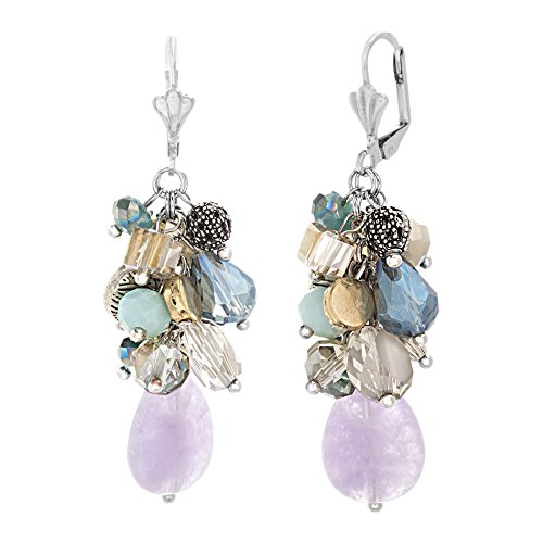 (Catherine Malandrino Multi-Color Dangling Beaded Drop Cluster Silver-Tone Lever Back Earrings for Women)