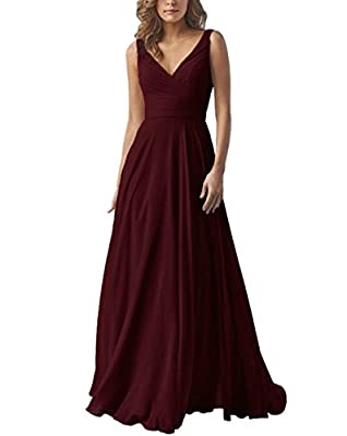 AlfaBridal Double V Neck Bridesmaid Dresses Long Chiffon Wedding Evening Gown