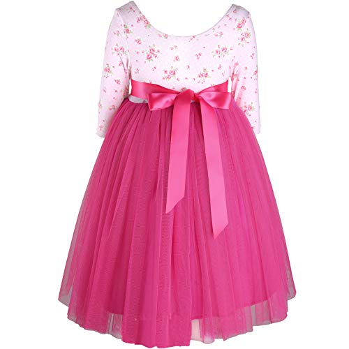 Flofallzique Vintage Floral Maxi Girls Dress 3/4 Sleeve Long Tulle Toddler Dress(12T, Deep Pink) (3/4 Sleeve Birthday)