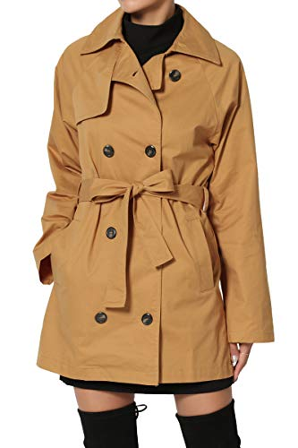 lted Double Breasted Short Trench Coat Jacket Camel M ()