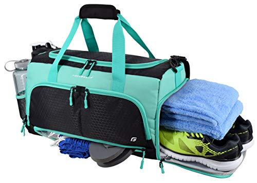 "Ultimate Gym Bag 2.0: The Durable Crowdsource Designed Duffel Bag with 10 Optimal Compartments Including Water Resistant Pouch (Teal, Medium (20""))"