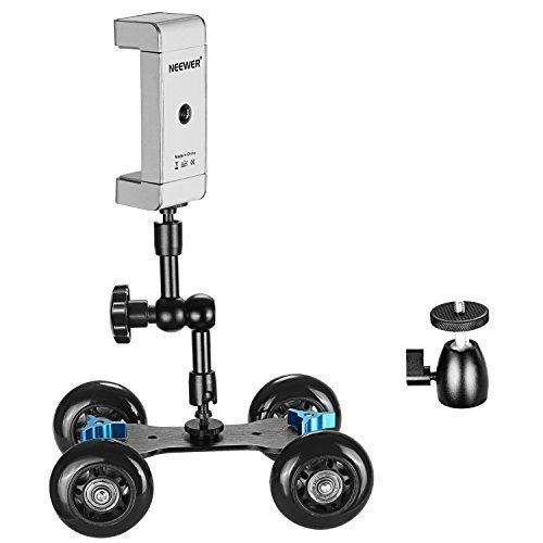 Neewer Camera Dolly Kit for DSLRs, Includes Mobile Rolling Sliding Dolly Stabilizer Skater Slider, 7 inches Adjustable Friction Magic Arm, Mini Hot Shoe Ball Head, Easy-Adjust Smartphone Tripod Holder