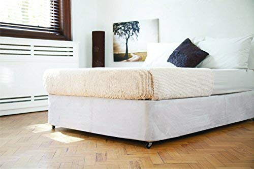 Divan Bed Base Wrap Valance in Double Bed Size in Linen Beige 19