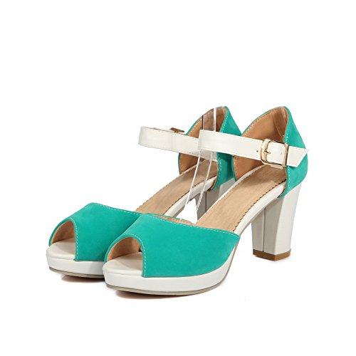 Sandals Solid Toe Women's Buckle Heels High AgooLar Green Peep xqnfZU0wWH