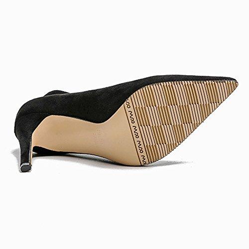Bout Femme Travail Mode Fermé 37 Talon Pumps Escarpin Respitant Noir Bride Chaussures Pointu Cheville Boucle wzpqqv5