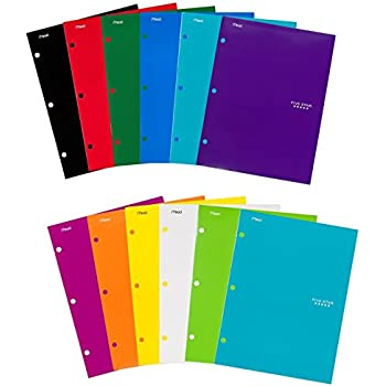 "Five Star Pocket Folders, 4-Pocket, 12-1/2"" x 9-1/2"", Assorted Colors, 12 Pack"