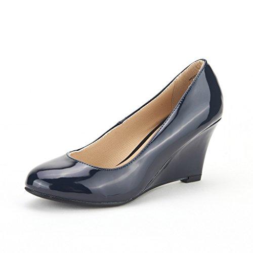 Paires De Rêve Wedgy Femmes Élégantes Orteils En Amande Mi-talon Wedge Pompes Slip On Shoes Wedgy-navy-pat