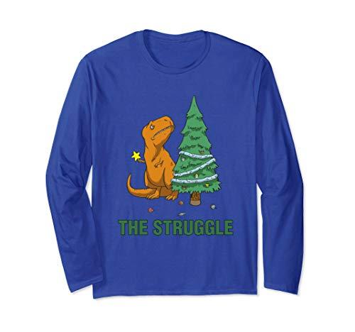 Unisex T-Rex funny Christmas or Xmas shirt the struggle Medium Royal Blue