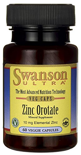 Zinc Orotate 10 mg Elemental Zinc 60 Veg Caps by Swanson Ultra