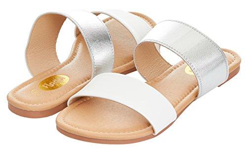 Floopi Womens Summer Wide Elastic Slide Flat Sandal (8, White-503)