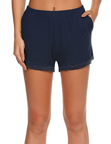 Short Fitted Pjs (Skylin Comfortable Pajama Pant Womans Cotton Loose Loungewear Shorts (Navy Blue, XXL))