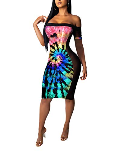 (Womens Cute Two Piece Outfits - Strapless Tie Dye Print Tube Top + Mesh Lace Club Swing Dresses Multi#4 XXL)