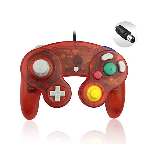 Reiso 1 Pack NGC Controller Classic Wired Controller for Wii Gamecube(Clear Red)