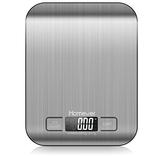 Homever Food Scale, 0.05oz/1g Accurate Kitchen Scale with Multifunction, Stainless Steel Digital Kitchen Scales for Baking and Cooking, Silver