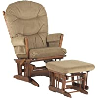 Dutailier Round Back Cushion Design 2 Post Glider Multiposition, Recline and Ottoman Combo, Light Brown