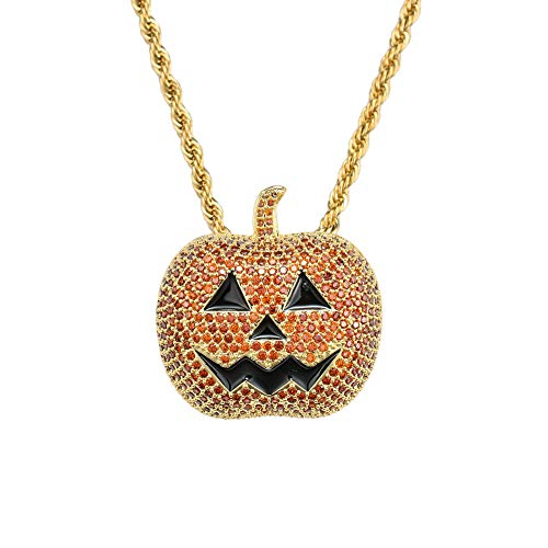 FATRWO Hip Hop Pendant,Halloween Pumpkin Necklace,Copper Micro-Inlaid Zircon Tide Brand Necklace,Men and Women Style, Trend Jewelry,Gold