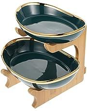 Minkissy 2 Pcs Ceramic Fruit Stand Bowl Fruit Basket Fruit Serving Plates Tiered Serving Stand for Dessert Appetizer Cake