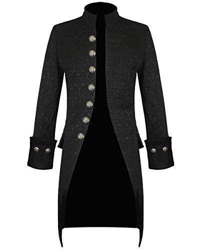 Darkrock Mens Jacket Velvet Goth Steampunk Victorian Frock Coat Handmade (X-Large, Brocade) (Mens Brocade)