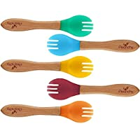 Avanchy Baby Toddler Bamboo Training Forks - Fda Approved, Bpa Free Silicone....