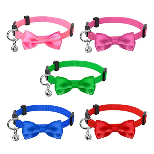Collars Wholesale Cat - CARFILNL 5/10/15Pcs Quick Release Kitten Cat Collar Safety Nylon Puppy Dog Collars Adjustable Bowknot Bell for Small Dogs Cats Wholesale Mixed Color 10pcs